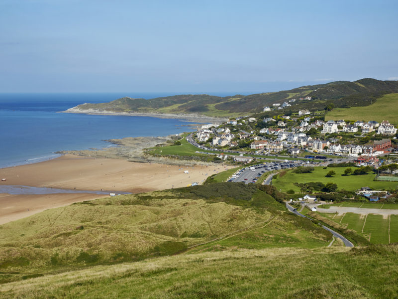 Elevated view of surf and shoreline at Woolacombe Beach